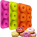 Tebery 3 Pack Silicone Donut Molds, 6 Cavity Non-Stick Safe Baking Tray Maker Pan Heat Resistance for Cake Biscuit Bagels Muffins-Orange, Rose Red