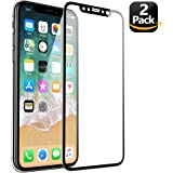 ALCLAP iPhone X Screen Protector (2-Pack), iPhone 10 Tempered Glass 3D Full Coverage Film with PET Soft Edge Frame HD Clear Bubble Free Screen Protector[Lifetime Replacement] for iPhone X / 10 (Black)