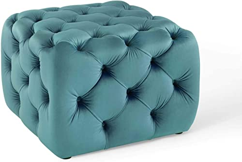 Modway Amour Tufted Performance Velvet Square Upholstered Ottoman in Sea Blue