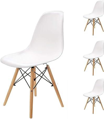 Pack 4 sillas de Comedor Silla diseño nórdico Retro Estilo (Blanco ...