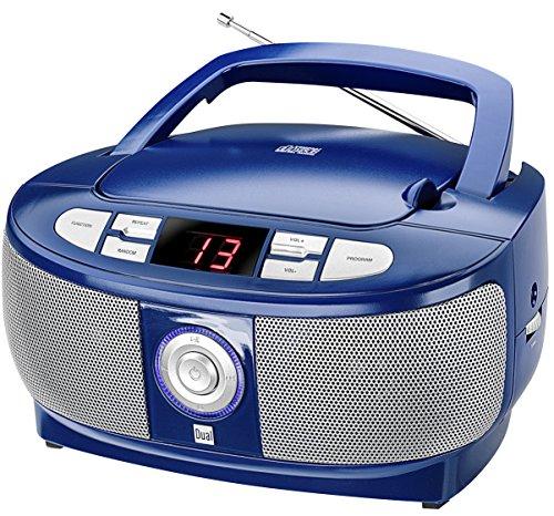 Dual P 49-1 Boombox met CD-speler (FM-radio, LED-display, netvoeding of batterijen) blauw