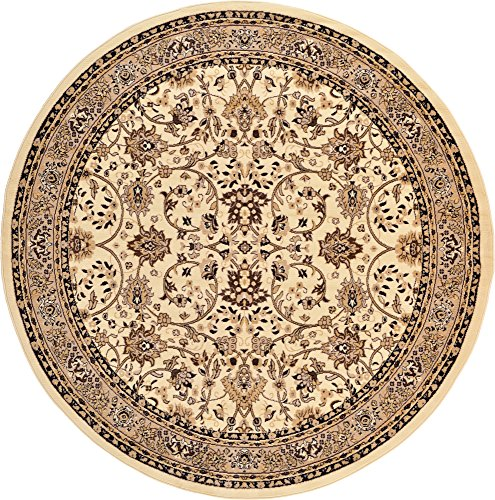 A2Z Rug 8-Feet-Round Covent Garden Persian Traditional Design Rug, Ivory
