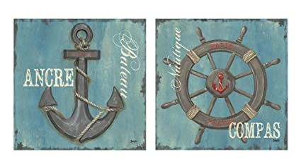 Bon Wallsthatspeak French Nautical Paris Anchor Ocean Sea Compass Art Prints  Posters Home Bathroom Office Decor,