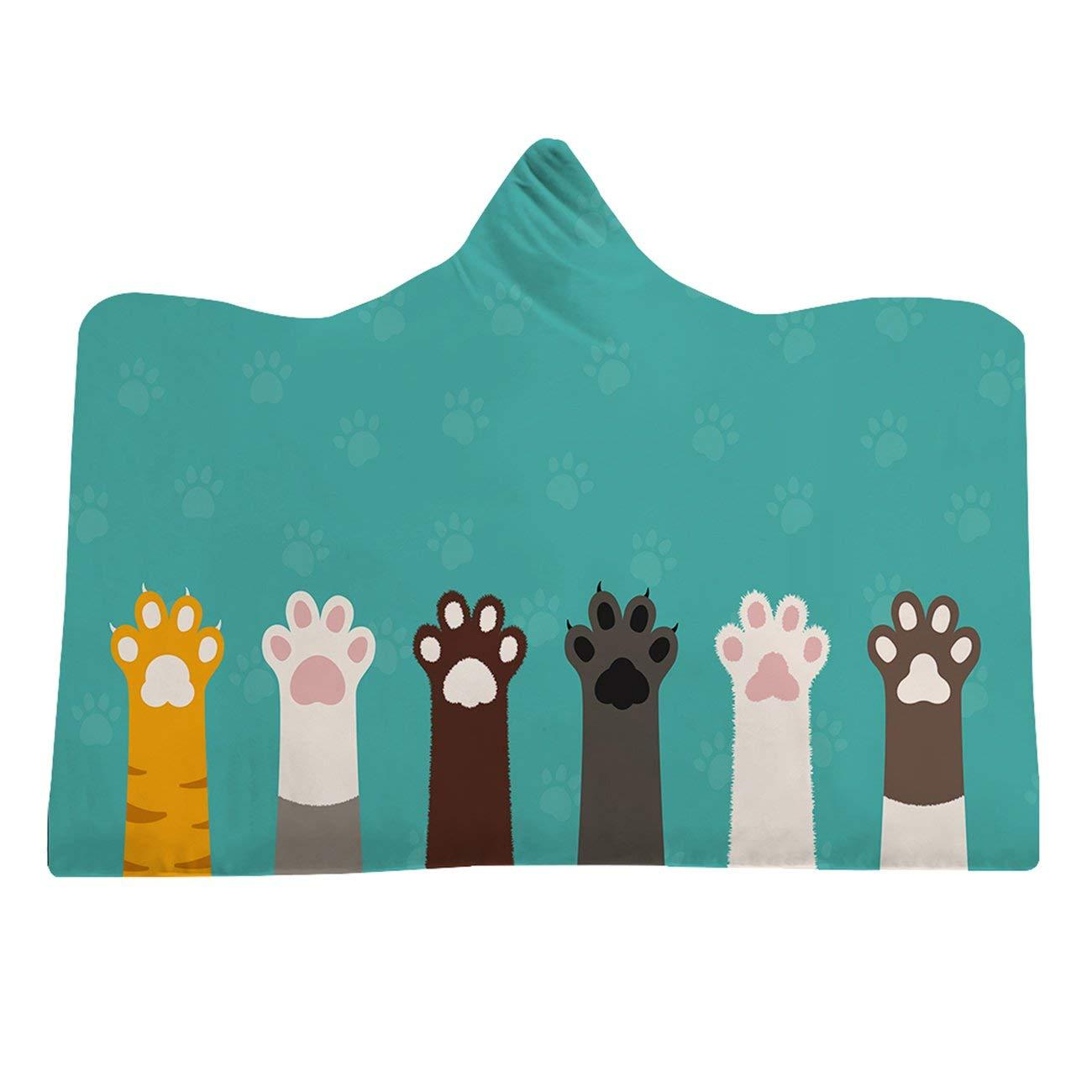 Large Size Cartoon Cat Printed Hooded Blanket Winter Warm Flannel Hoodie Clock Blanket Baby Kid Adult Sofa Blanket