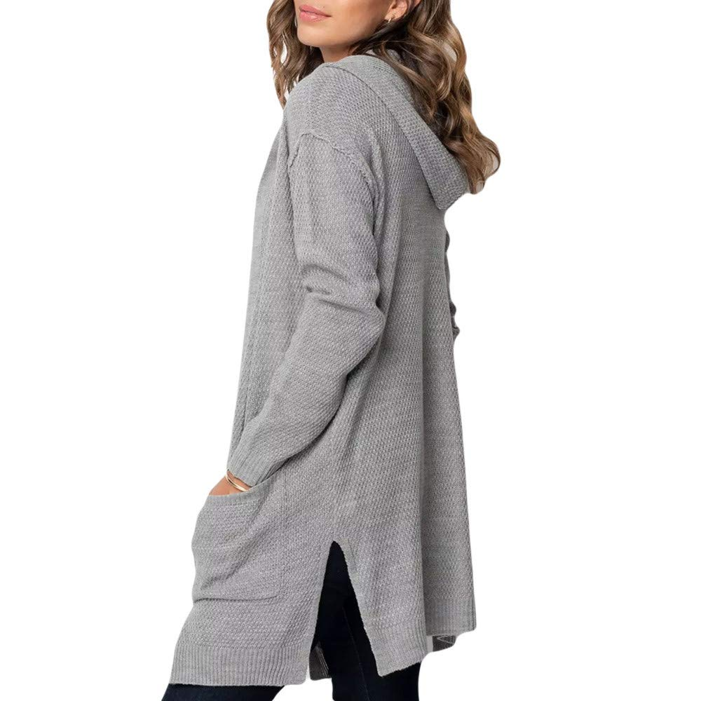 Pervobs Womens Plus Size Swearshirt Solid Pocket Hooded Cardigan Sweater Coat Tops