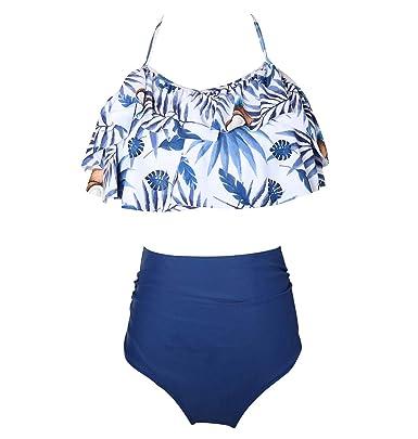 dd0c9a17a3df Bikini Talle Alto Cuello Halter Volantes Conjunto Bikinis con ...