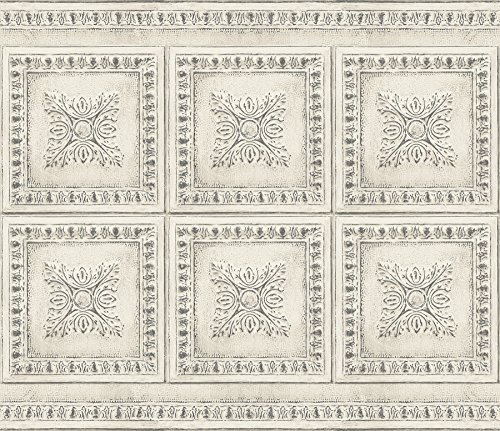 Cream Wall Tile (Brewster BHF2769 Cream Vintage Tin Peel and Stick Backsplash, Metallic)