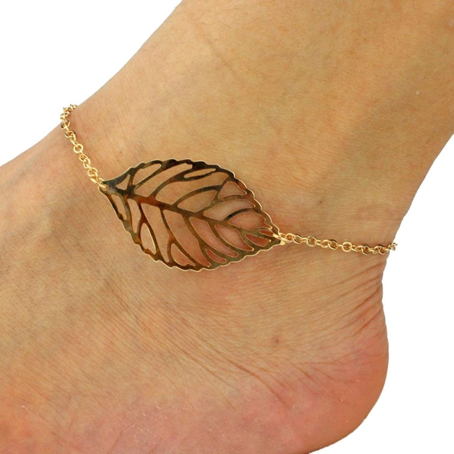hot OVERMAL Women Fashion Punk Metal And Stone Anklets Beach Foot Jewelry