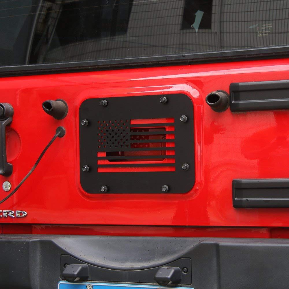 USA Flag JeCar Black Steel Tailgate Vent-Plate Cover for 2007-2018 Jeep Wrangler JK /& Unlimited