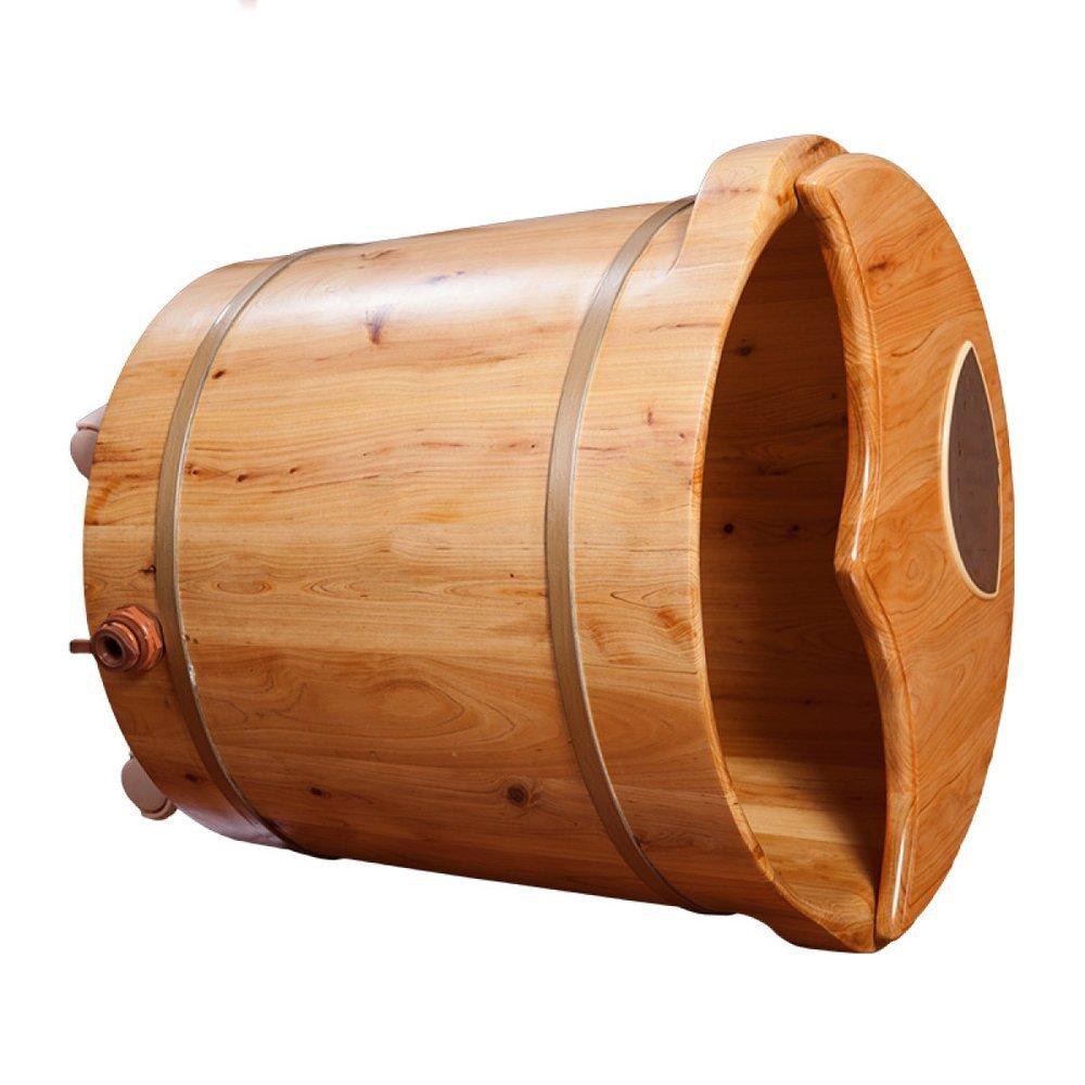 ERHANG Holz Fu/ßbad Pedik/üre Sch/üssel Badewanne Fass Automatische Heizung Thermostat Begasung Barrel Fu/ß Badewanne Mit Beweglichen Rad,40cm*42cm