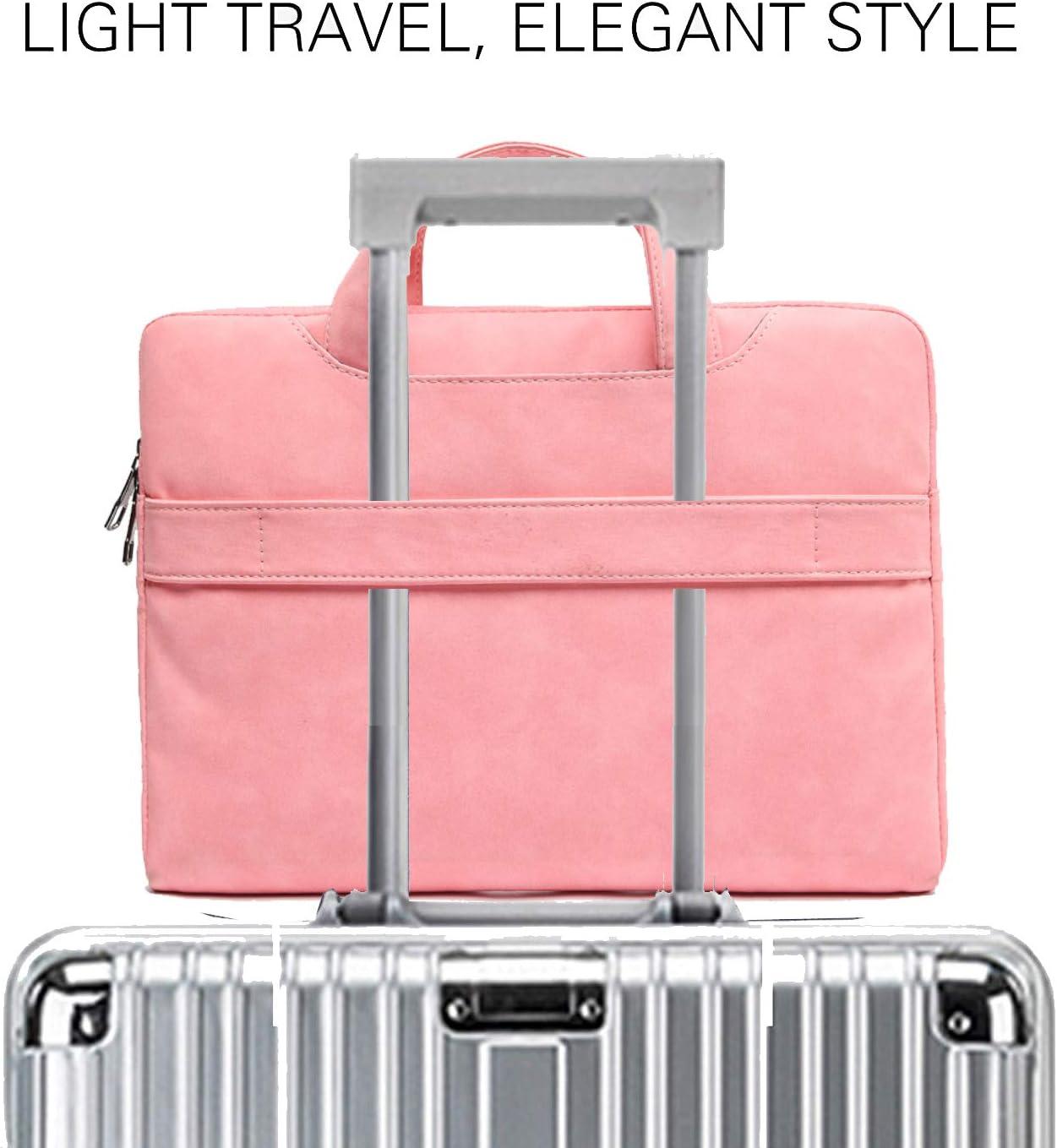 13.3 Inch Laptop Carrying Case for MacBook Pro 13 Computer Sleeve Grey Slim PU Leather Laptop Bag Large Briefcase Handbag for Women Men Waterproof Messenger Shoulder Bag for 12-13.3in Notebook