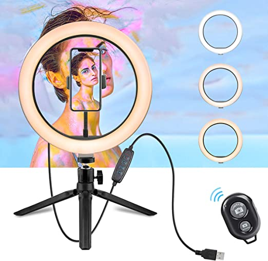LED Dimmable Desktop Fill Ring Light for Vlog//YouTube//Live Stream//Makeup//Photo6graphy 10 Selfie Ring Light with Adjustable Tripod Stand /& Cell Phone Holder and Remote Contro