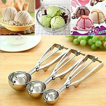Milopon Eisportionierer Edelstahl Eis L/öffel Scoop Eiscremel/öffel Cookie Scoop Kugelausstecher size 4cm