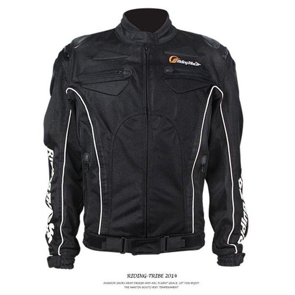 バイクジャケット メッシュジャケット メンズ 春夏秋 3シーズン 通気 バイク レーシング ライダースジャケット プロテクター バイクウェア 人気 XXL ブラック B07D48S594