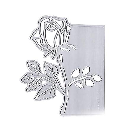 Qiman - Plantilla de Metal para Cortar, diseño de Flor para Manualidades, álbum de