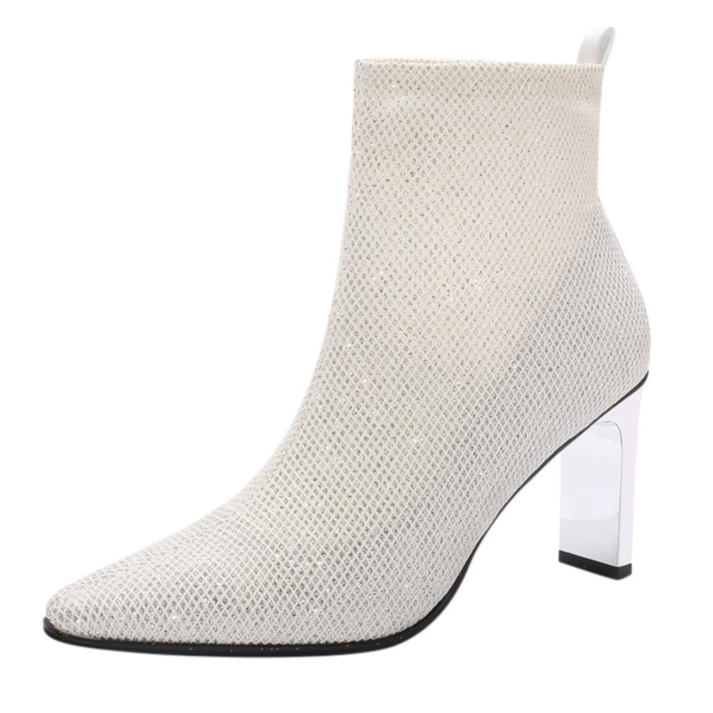 Midress Womens Glitter Hign Heels Shoes Ankle Boots Casual Pointed Toe Short Boots Thin Heels Booties Party Dress Fashion Shoes