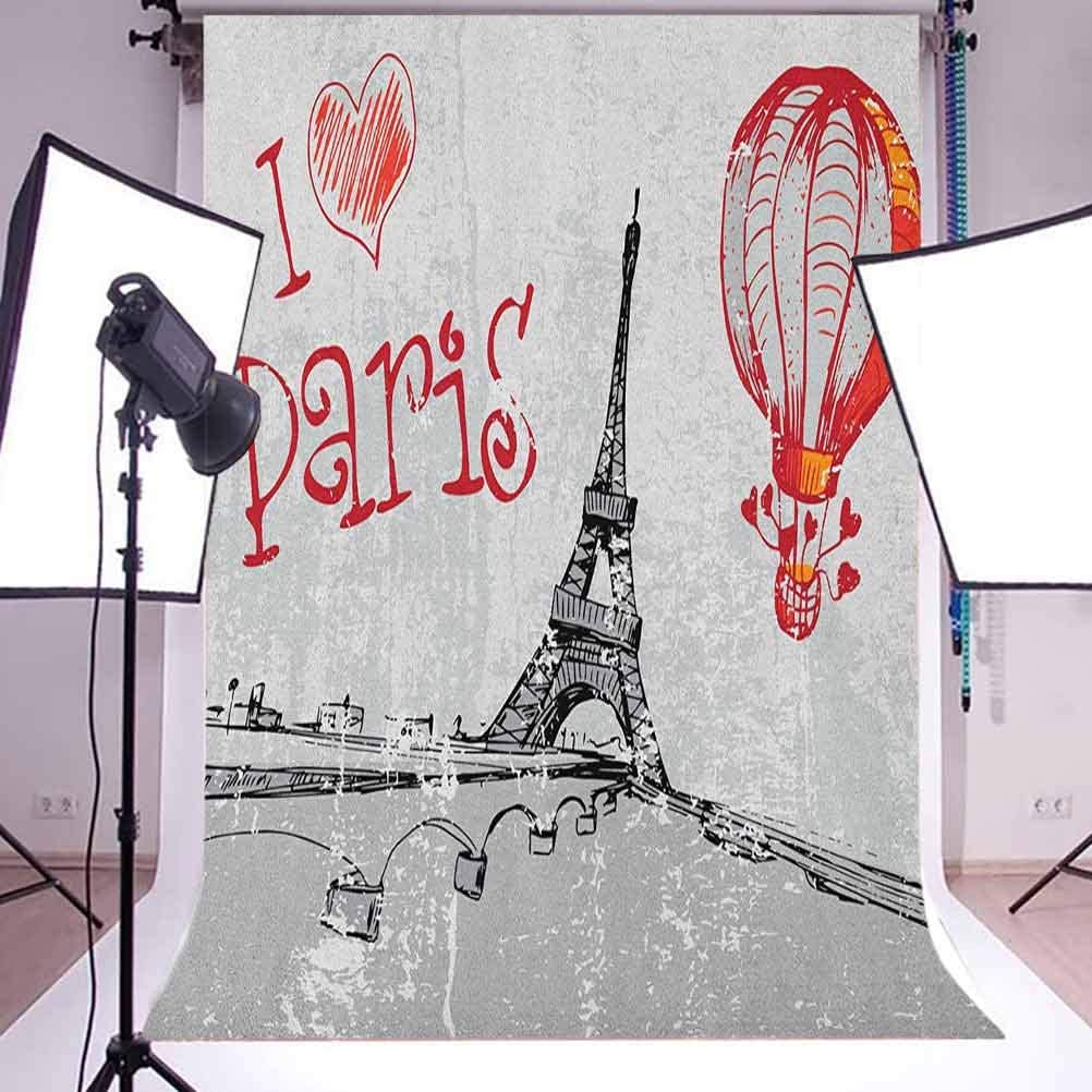 7x10 FT Emily Vinyl Photography Backdrop,Cartoon Doodle Birthday Cake with Cheerful Event Pattern Balloon Filled Background Background for Party Home Decor Outdoorsy Theme Shoot Props