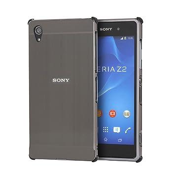 HICASER Duro Híbrido Carcasa para Sony Xperia Z2 Bumper Case del Metal Aluminio + PC Ultrafina Brushed Trasero Funda Cover Gris
