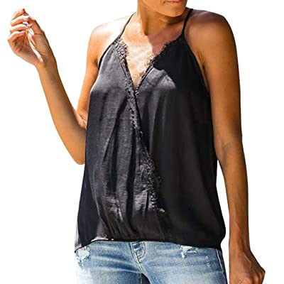 Chaleco de Verano para Mujer Moda Color Sólido Sleeveless Shirt Sexy Cuello en V Camiseta sin Mangas Camisas Casual Encaje Encaje Informal Túnica Tirantes Tops Señoras MMUJERY: Ropa y accesorios