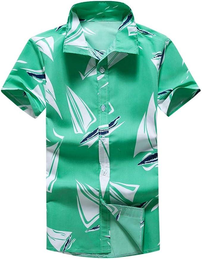 YEBIRAL Camisa Hawaiana para Hombre Verano Cuello de Solapa con Botones Polos Manga Corta Hombre Hawaii Shirt de Surf de Playa(5XL, Verde): Amazon.es: Ropa y accesorios