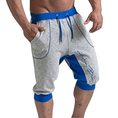 9b2f1600b2f Image Unavailable. Image not available for. Colour  Juqilu Men s Shorts  Causal Jogging Pants 3 4 Cotton Sweat Jersey Trousers Summer Sport Bottoms