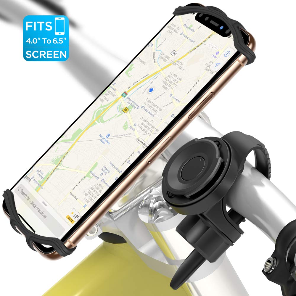 VUP Detachable Bike Phone Mount, All Screen Friendly and 360°Rotation Silicone Bicycle Phone Holder, Motorcycle Phone Mount, Fits for iPhone Xs Max/Xs/X/ 8 Plus/ 8/7/ 6s Plus, 4-6.5'' Phones