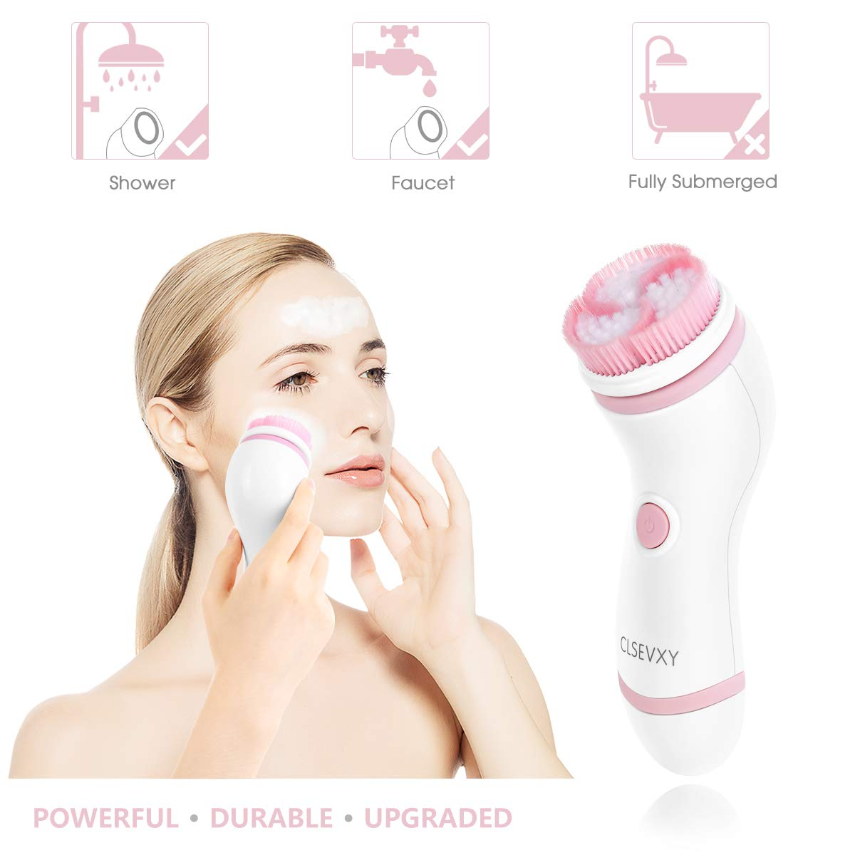 Waterproof Facial Cleansing Brush Set with 4 Exfoliation Brush Heads - Pink
