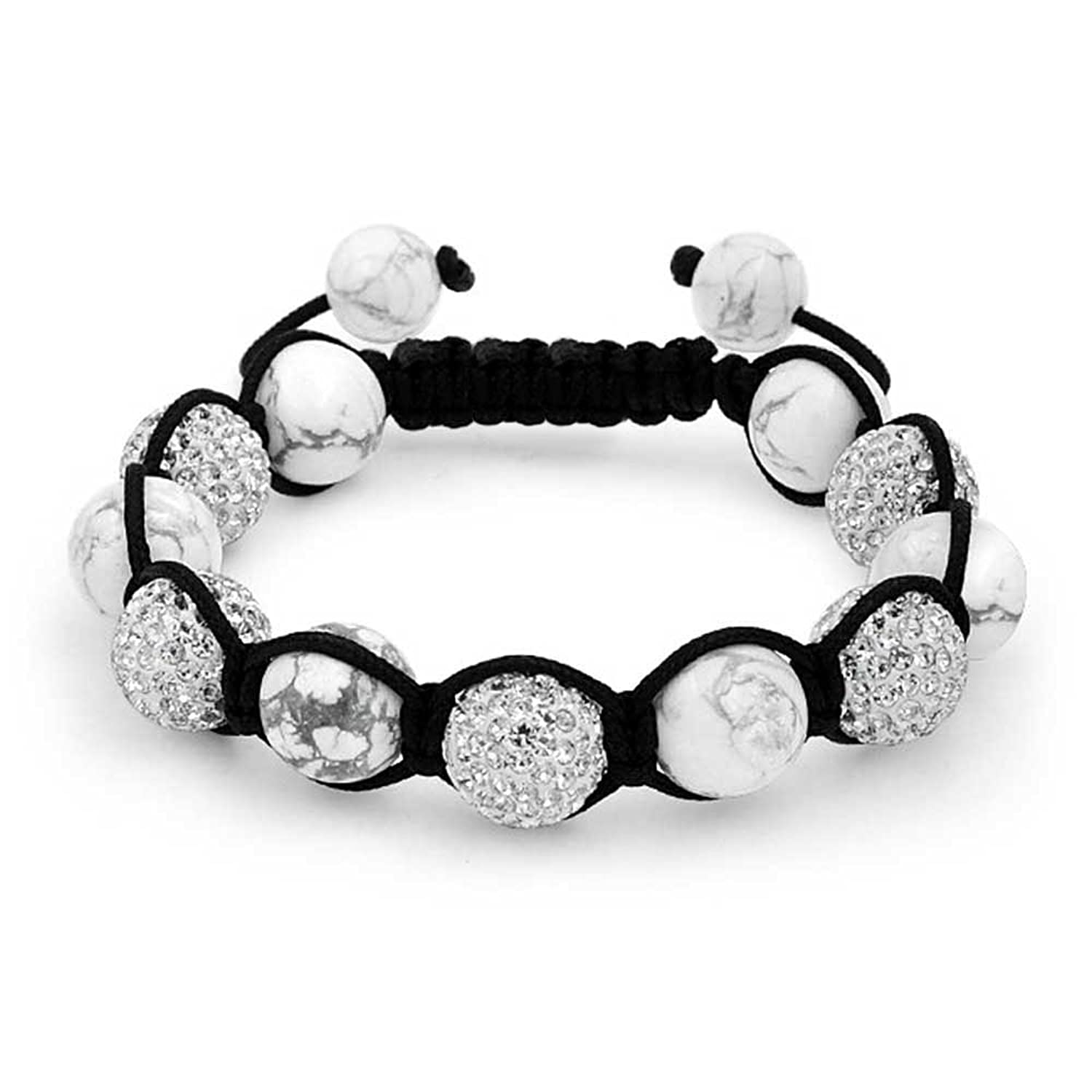 Bling Jewelry Simulated Howlite Shamballa Inspired Bracelet Crystal Alloy