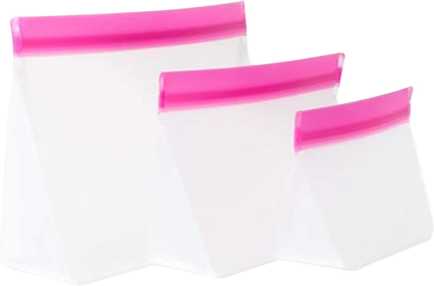 mumi Reusable Zip Up Bags | Food Storage Bags, Travel Organizer | Airtight and Leak-proof Seal | Expandable Base | Set of 3 Reusable Bags (10 x 7, 8 x 5, 6 x 4 inches) (Pink)