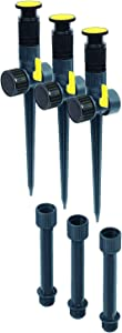 Melnor 65083-AMZ Multi-Adjustable Sprinkler and Risers, 6 pc Set, Sprinkler & Riser