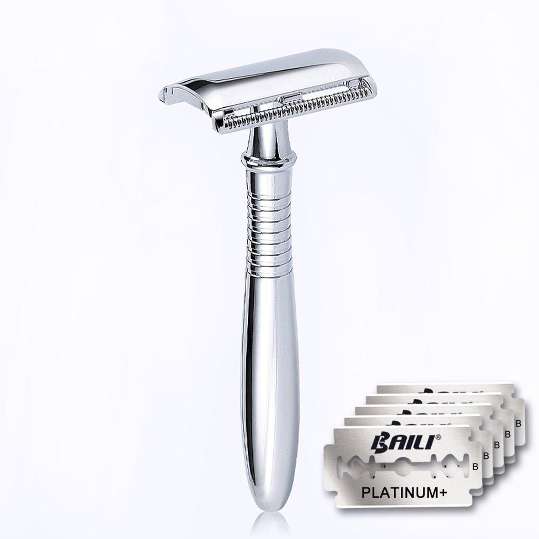 BAILI Wet Shaving Twin-bladed Safety Razor Retro Chrome Long Handle Men's Stainless Shaver with 5 Platinum+ American Blades, BD191 WEIDI BAILI