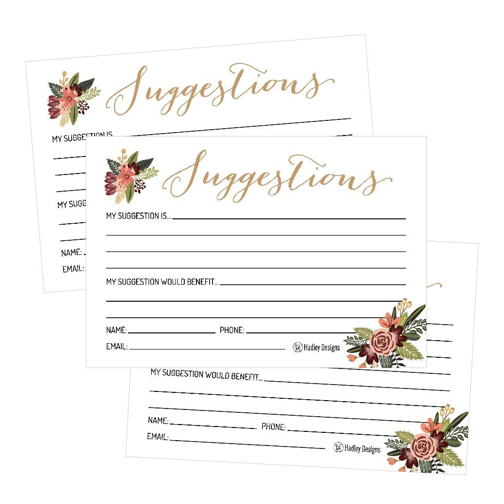 25 4x6 Floral Feedback Comment Suggestion Card Forms For Customer Complaints, Small Business Employees, Restaurant Blank Refill Paper, Client Contact Info For Wooden or Metal Lock Box Holders