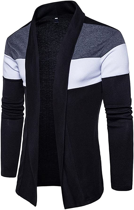 Fashion Autumn Winter Slim Fit Patchwork Long Sleeve Knit Sweater Outwear Warm Trench Tops OSTELY Mens Cardigan
