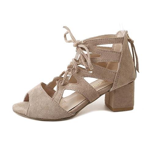 ASHOP Sandalias Mujer Bohemia Las Bailarinas Planas Zapatos de Cordones Verano Tobillera Moda Zapatillas De Playa Sandalias y Chanclas de Cuero Cómodo Y ...