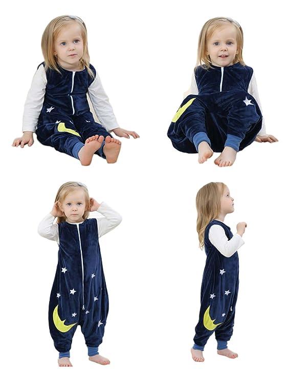 ZEEUAPI - Saco de dormir de franela para bebés niños infantíl Ropa para dormir (S (1-3 años), Azul marino - Estrellas): Amazon.es: Hogar