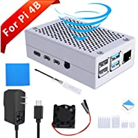 GeeekPi Raspberry Pi 4 Aluminum Case, Raspberry Pi 4 Metal Case with Fan, Raspberry Pi Heatsink and 5V 3A USB-C US Plug Power Supply for Raspberry Pi 4 Model B