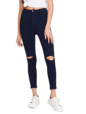 aae2397efd4167 GUNLIRE Women's Juniors Black Knee Cut Ripped Skinny Jeans Frayed Hem High  Waisted Stretch Pants