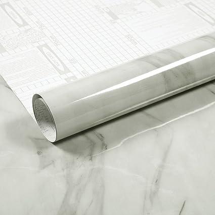 White Wallpaper Self-Adhesive Contact Paper Home Decorat White Grey Marble Self Adhesive Gloss Vinyl Wrap Film Kitchen Countertop Peel Stick Wallpaper Decal 40cmx250cm Color : White