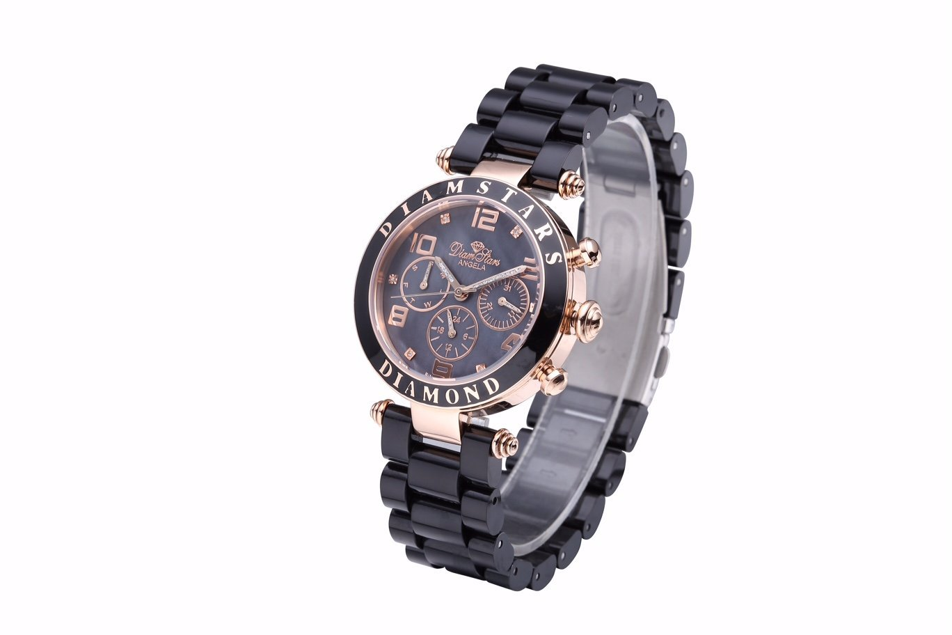WATCH WOMAN ''ANGELA'' BLACK CHRONOGRAPH & PINK GOLD - Acier rose doré, Polymer noir by Diamstars