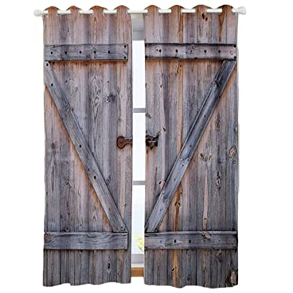 Country Barn Wood Door Decor Curtains Old Wooden Garage Door American  Country Style Decorations For Bedroom