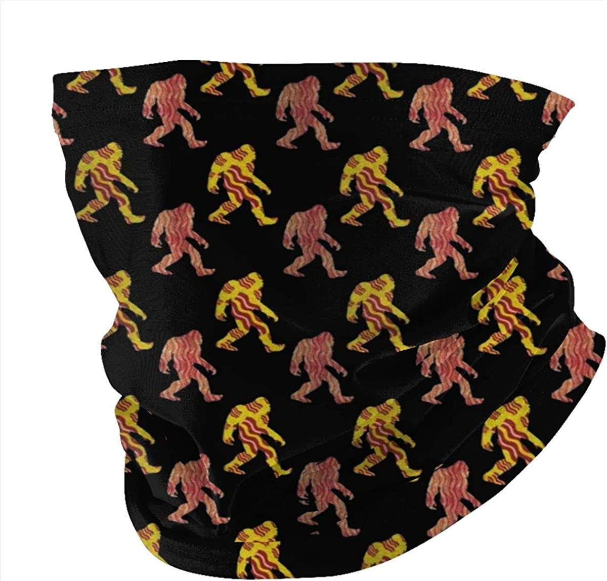 Bigfoot Sasquatch Bacon Face Mask Bandana for Dust Headband Magic Scarf Head Wrap Neck Warmer Black