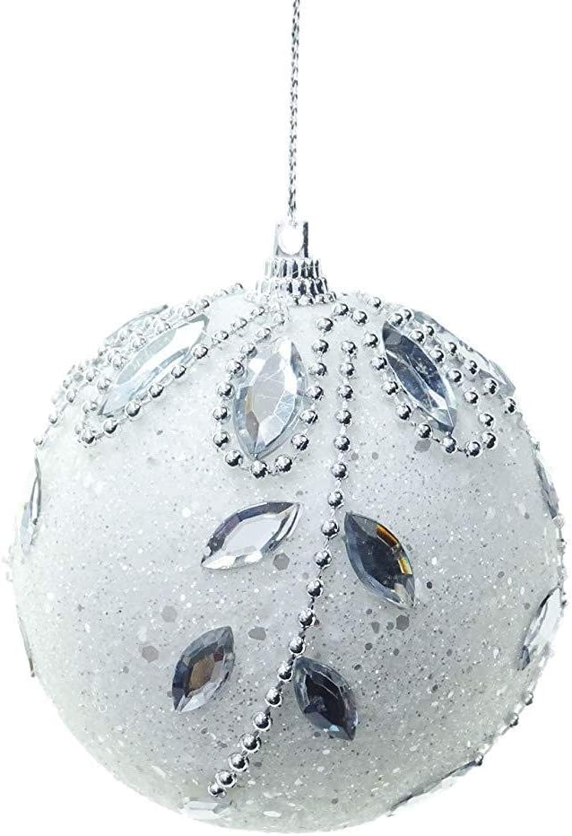 VlugTXcJ 12 Sets 80mm Crystal Glitter Baubles with Jewels Christmas Tree white