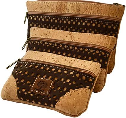 Conjunto de neceser, estuche de maquillaje y monedero de corcho con malla marrón: Amazon.es: Belleza