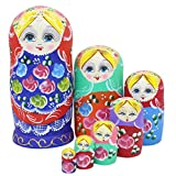 Perfect Mother Day Gifts Set of 7 Pieces Wooden Handmade Traditional Blue Red Colorful Flower Russian Nesting Stacking Dolls Matryoshka Kids Children Gifts Toy For Home Desk Room Party Decoration