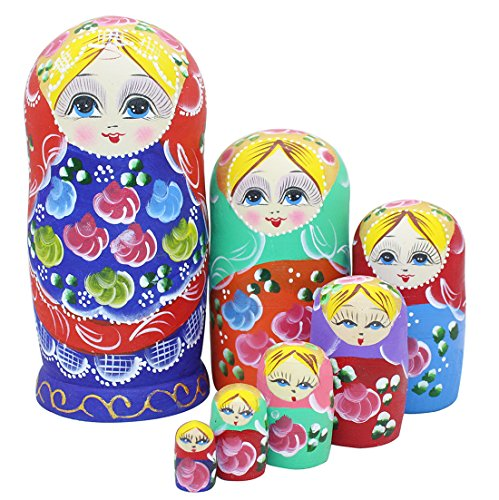 Perfect Mother Day Gifts Set of 7 Pieces Wooden Handmade Traditional Blue Red Colorful Flower Russian Nesting Stacking Dolls Matryoshka Kids Children …
