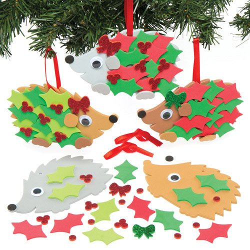 Christmas Holly Hedgehog Decoration Kits for Children to Design Make and Display - Creative Xmas Foam Craft Toy for Kids (Pack of 5)