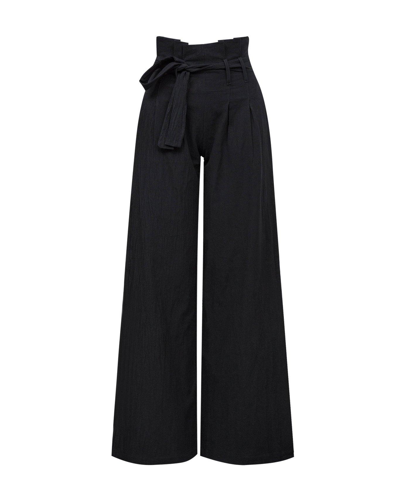 Xintianji High Waist Wide Leg Pant with Belt for Women Girls Black_M