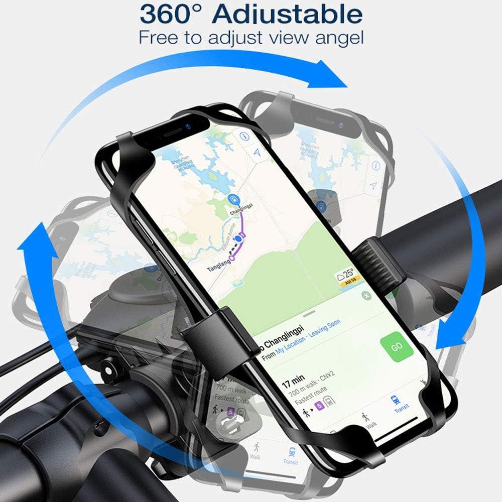 Handyhalterung Fahrrad 360/°Drehbarer Motorrad Handyhalter Lenker Vorbau Fahrrad Wasserdicht,Universal Silikon Gro/ß GPS Handyhalter Fahrrad Stange Motorrad Handyhalterung f/ür Smartphone Schwarz