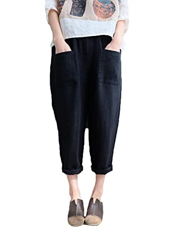 37db411eab5 Lncropo Womens Tapered Pants Casual Loose Plus Size Elastic Waist Cotton  Trouser with Pockets (S