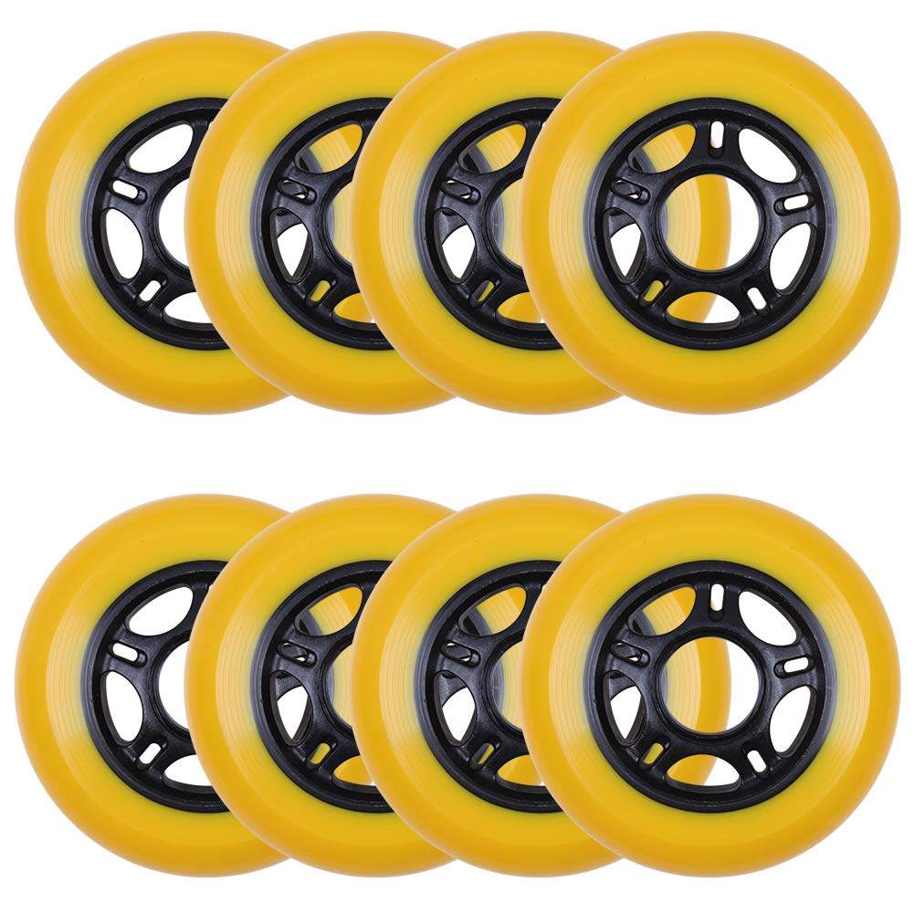 AOWISH 8-Pack Inline Skate Wheels 85A [Available in Sizes 64mm 70mm 72mm 76mm 80mm] Inline Skates Replacement Wheel (76mm-Black Hub Yellow Wheel) by AOWISH